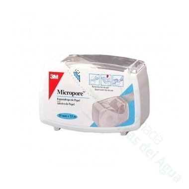 ESPARADRAPO HIPOALERGICO MICROPORE PAPEL BLANCO PORTAR 7,5 M X 2,5 CM