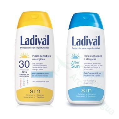 PACK LADIVAL ALLERG FOTOPROTECTOR FPS 30 GEL-CREMA FOTOPROTECCION +AFTER SUN 200 ML+ 200 ML