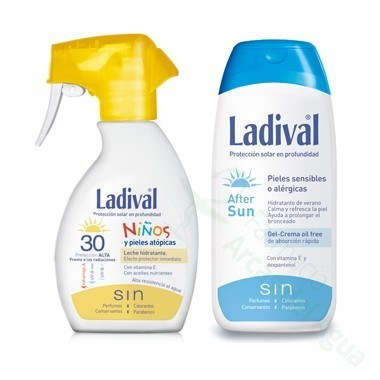 PACK LADIVAL NIÑOS FOTOPROTECTOR FPS 30 SPRAY FOTOPROTECCION ALTA +AFTER SUN 200 ML+ 200 ML