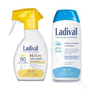 PACK LADIVAL NIÑOS FOTOPROTECTOR FPS 50 SPRAY FOTOPROTECCION +AFTER SUN 200 ML+ 200 ML
