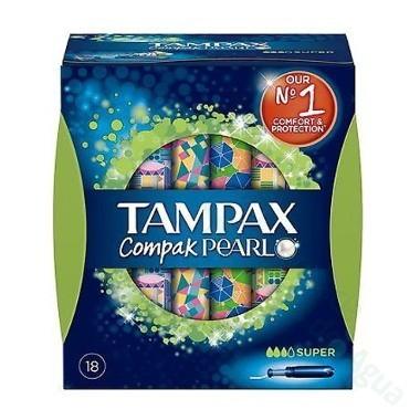 TAMPAX COMPAK PEARL TAMPON 100%ALGODON SUPER 18 U