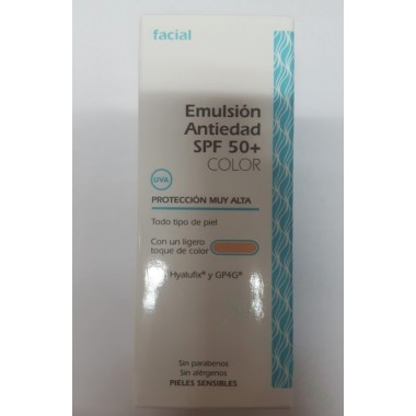 EMULSION ANTIEDAD SPF 50 CON COLOR